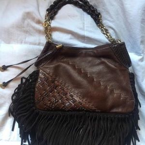 Authentic Jimmy Choo Snak & Leather Fringe Bag